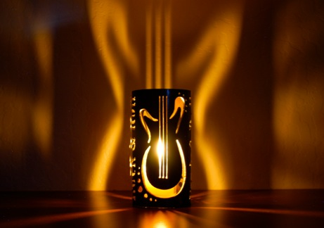 Rock & Roll guitar steel candle luminary Arizona Tube Art